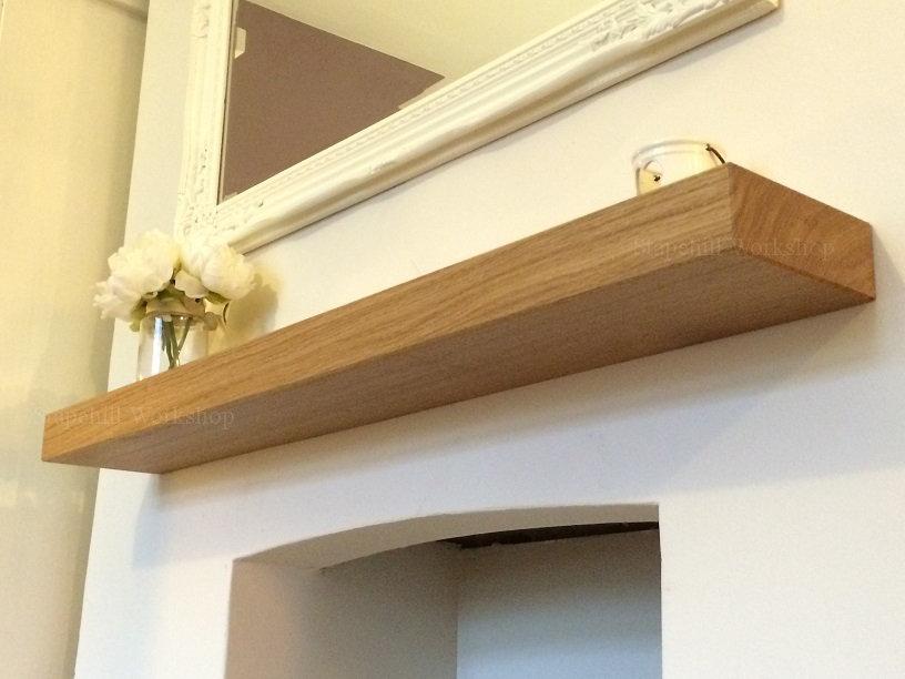 buy popular 786cf b3aa0 Solid Oak Floating Mantel Shelf, Fireplace Mantle Shelves
