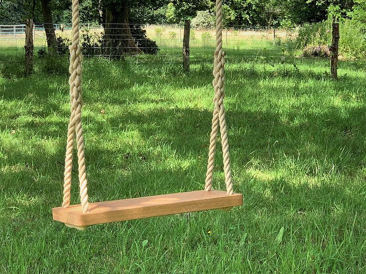Luxury Tree Swing - Oak Large or Double - Wooden Rope Garden Swing