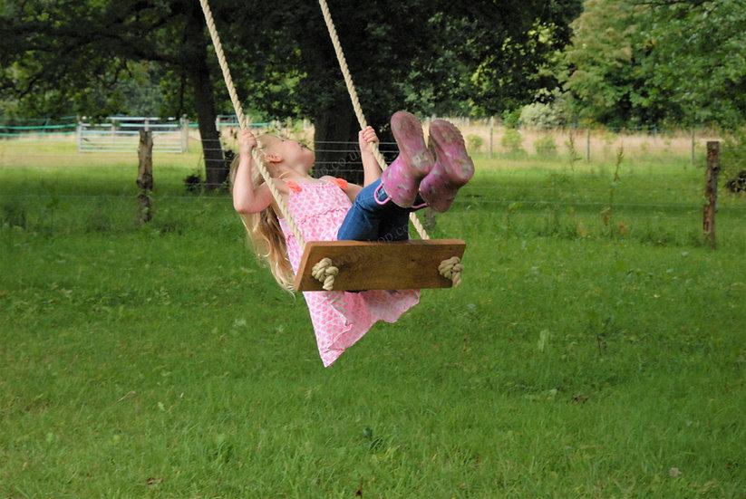 Rustic Oak Tree Swing - Traditional - Wooden Garden Rope Swings