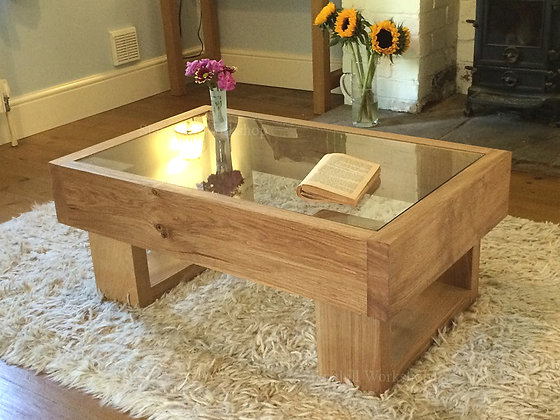 Bedford Solid Oak Coffee Table with Glass Insert