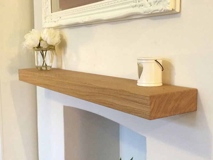 Solid Oak Floating Mantle Shelf, Fireplace Mantel Shelves