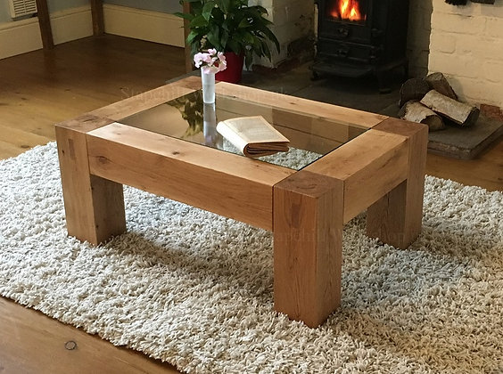 Worbarrow Oak Beam Coffee Table with Glass Insert
