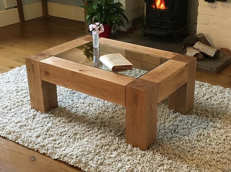 Worbarrow Oak Beam Coffee Table with Glass Insert