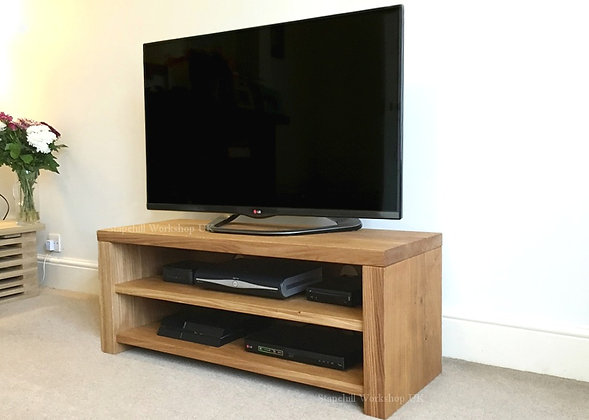 Portland 45 Solid Oak TV Stand With Oak Shelves, Deep with Oak Backing