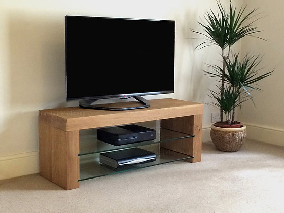 Portland 75, Thick Oak TV Stand with Glass Shelves
