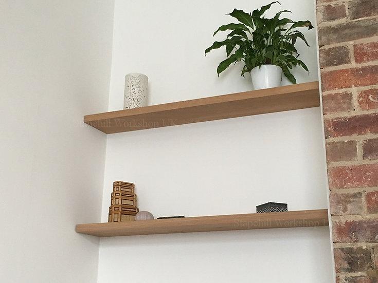 Solid Oak Alcove Shelves