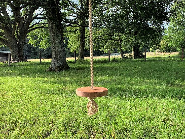 Luxury Tree Swing - Round Oak Button/Monkey - Wooden Garden Rope Swing