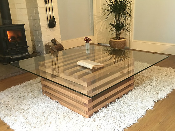 Durley Slatted Oak Coffee Table with Glass Top