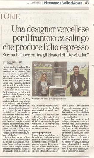 RevOILution su La Stampa e TgVercelli