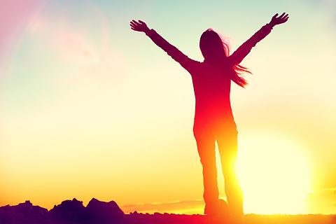 woman celebrating personal transformation