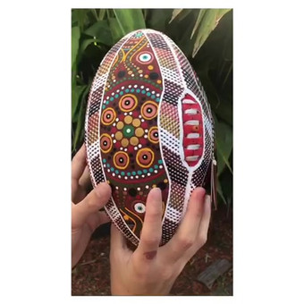 Survival painting on a Sherrin football by Mim Cole (SOLD)