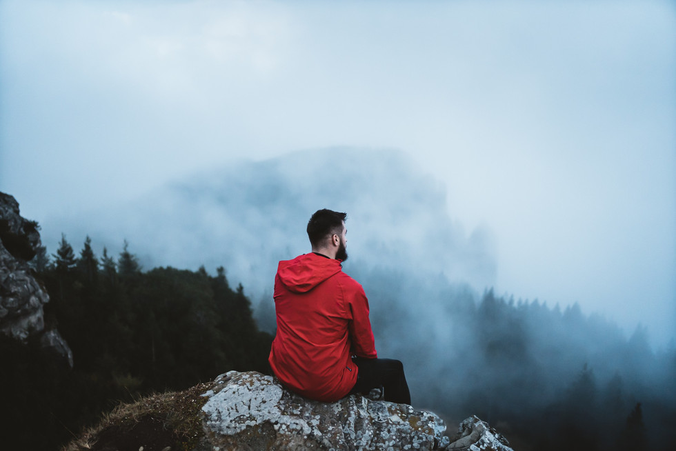 Young bearded hiker wearing red jacket looking at mountain view with for surrounding mountain peaks and forest