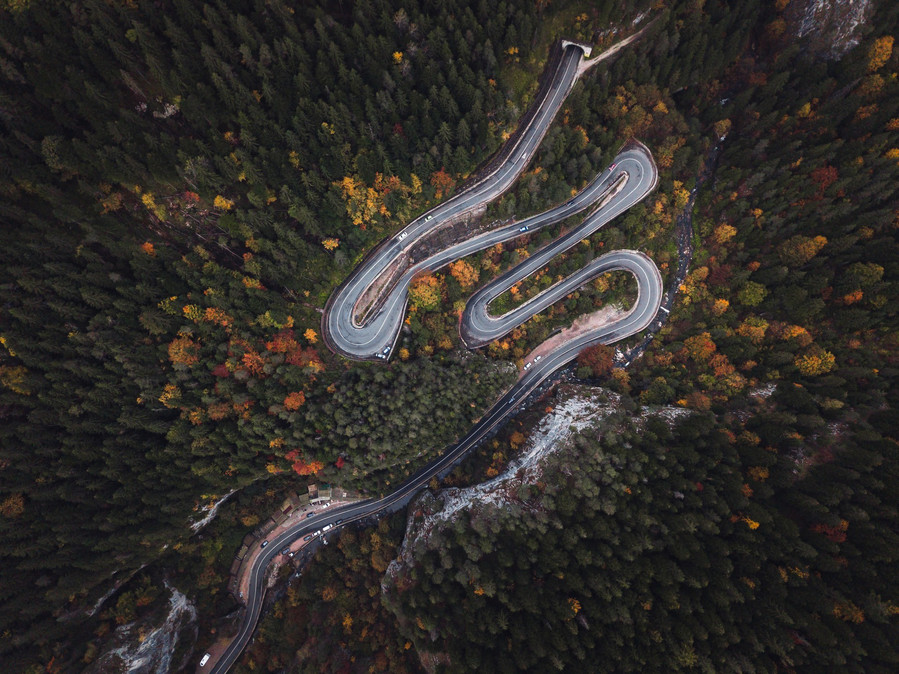 Winding road from the high mountain pass