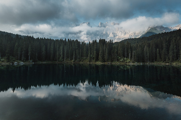 Scenic view of Karersee Lake, Dolomites, Italy