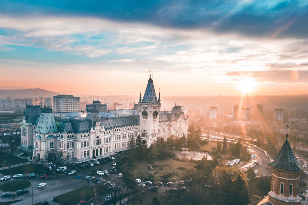 Scenic sunset view of Palace of Culture, Iasi