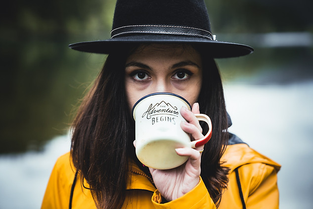 Woman drinking from coffee mug