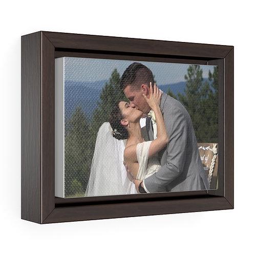 Victoria and Morgan Wedding Kiss Horizontal Framed Premium Gallery Wrap Canvas