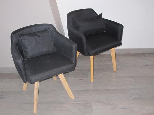 Paire de fauteuils gris