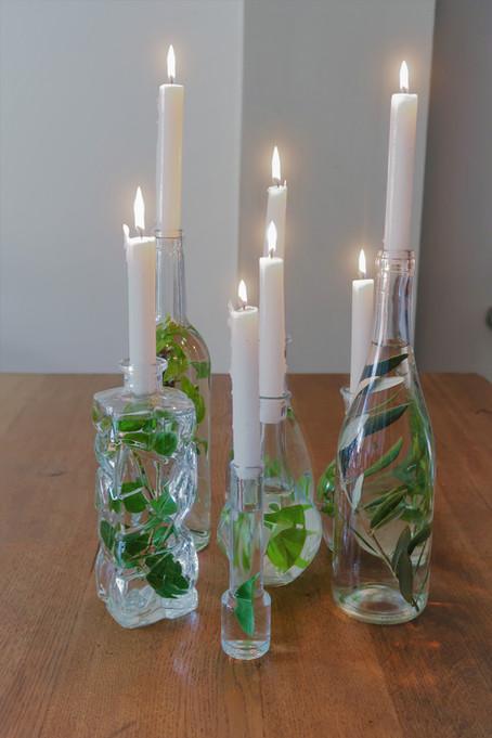 Créer un centre de table nature, végétal et vert.