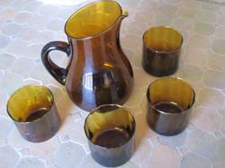 Service en verre brun vintage