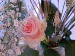 bouquet rose et blé, rose et gypso