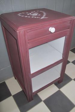 meuble d'appoint aubergine et gris