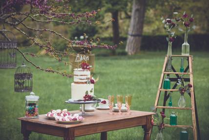 Table en bois, échelle, serviteur, flûtes, cage