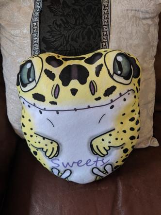 Custom made gecko plush pillow