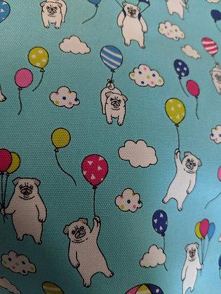 Blue pug balloon fabric