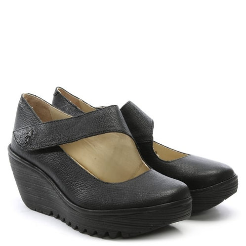 YASI 682 FLY MOUSSE BLACK Zapato de cuña FLY LONDON ZARAGOZA