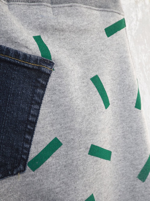Greedy drop joggers with green stick print