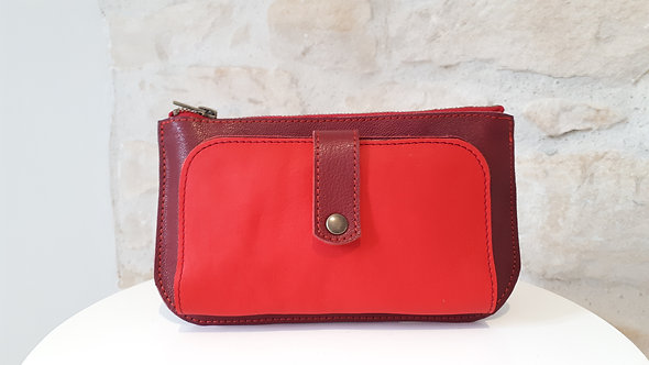 Portefeuille bordeaux et rouge