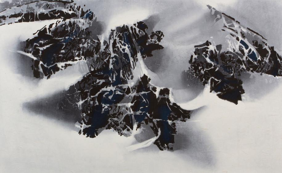 LKS-P307 空岩.幽石.霧起 2016 木刻水印 60 x 98 cm高士