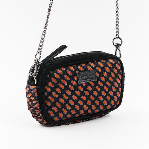 mini borsa a tracolla in pelle nera esetacon stampa geometrica
