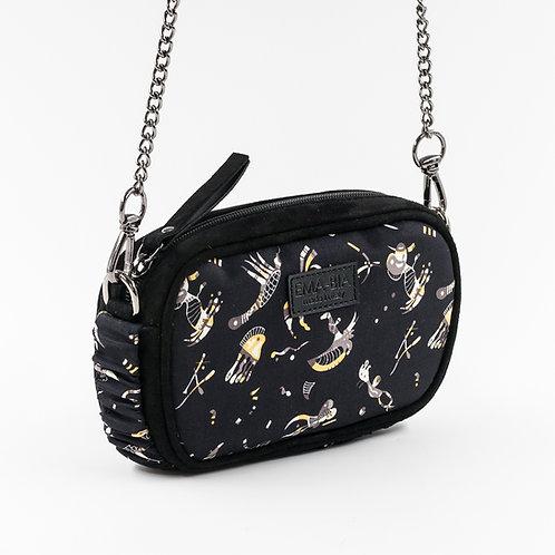 Mini borsa a tracolla in pelle nera esetacon stampa naif