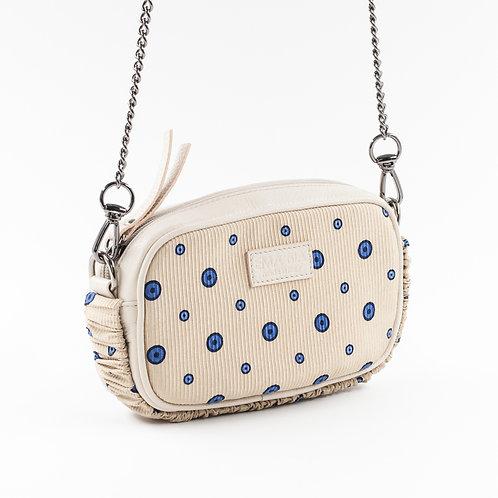 mini borsa a tracolla in pelle e seta texturizzata con stampa geometrica