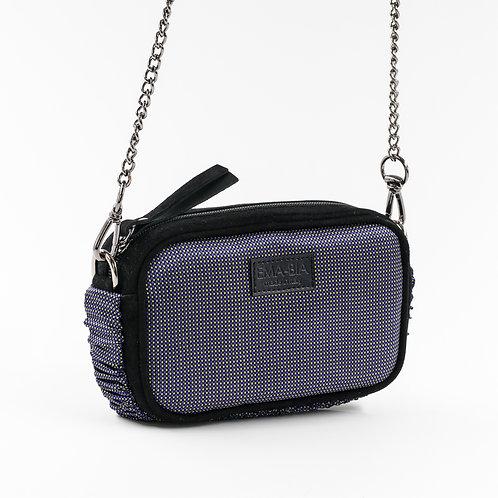 mini borsa a tracolla in pelle nera e setacon stampa blu