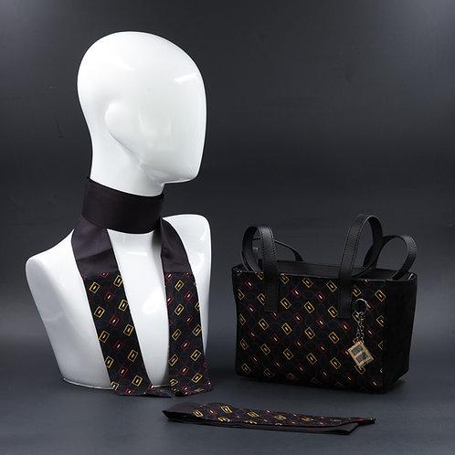 Borsa a spalla in camoscionera einserti in seta con stampa geometrica, sui toni del giallo e rosso, Manici in vera pelle