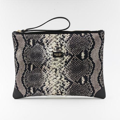 pochette borsa a manogrigia in seta con stampa segno grafico e finiture in pelle