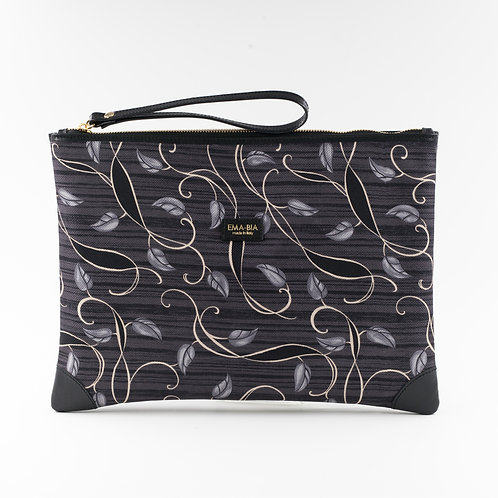 pochette borsa a mano grigia in seta con stampa arabesque finiture e in pelle