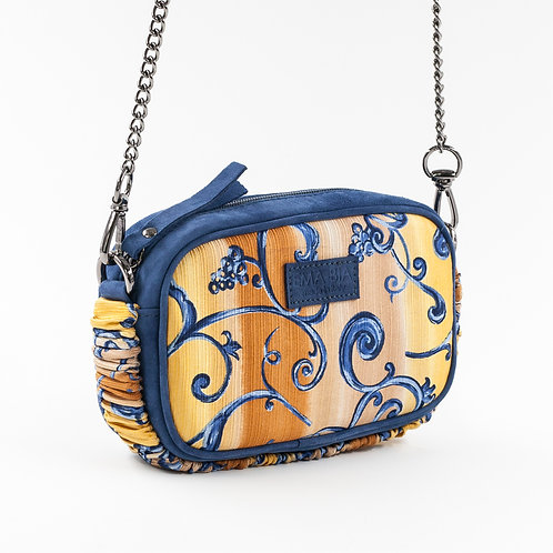 borsa a tracolla in pelle blu eseta con stampa arabesque