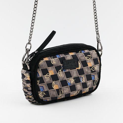 mini borsa a tracolla in pelle nera e setacon stampa geometrica a fantasia