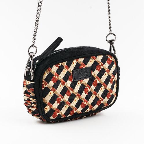 mini borsa a tracolla in pelle nera e setacon stampa geometrica rossa