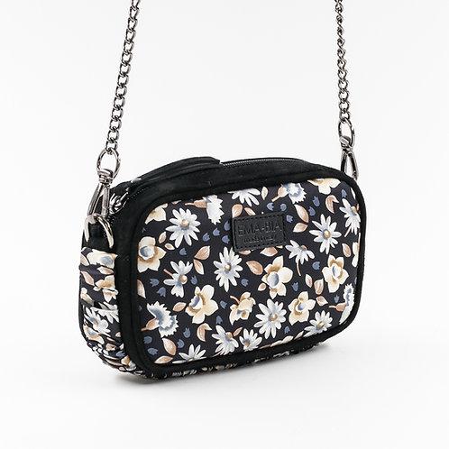 mini borsa a tracolla in pelle nera e setacon stampa floreale