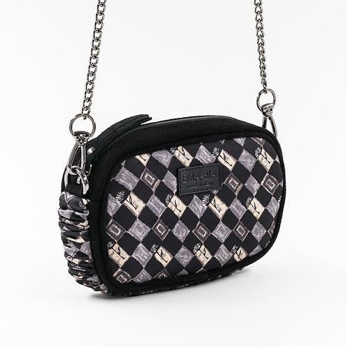 mini borsa a tracolla in pelle nera e seta con stampa geometrica grigia