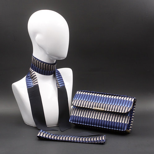 Clutch bag blu rigata, borsettarigida blu in seta con stampa geometrica, inclusi2 foulard da collo in seta abbinati