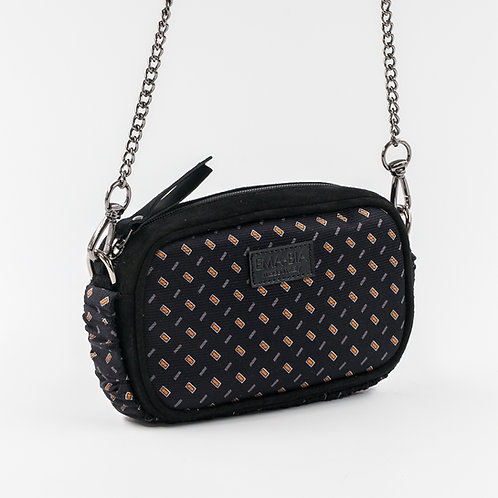mini borsa a tracolla in pelle nera eseta con stampa geometrica gialla