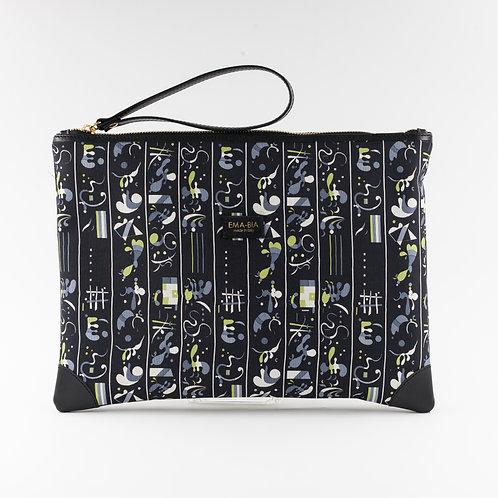 pochette borsa a mano nera in seta con stampa naife finiture in pelle