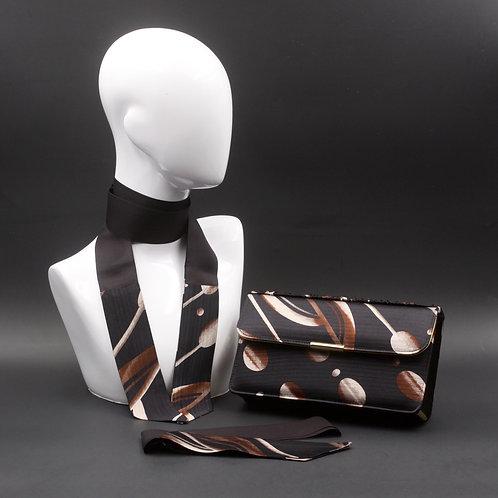 Clutch bag nera, borsa rigidain seta con stampa floreale, inclusi2 foulard da collo in seta abbinati, silky stripes.