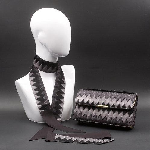 Clutch bag grigia, borsetta rigida in seta con stampa geometrica, effetto rombi zig zag, inclusi2 foulard da collo in seta